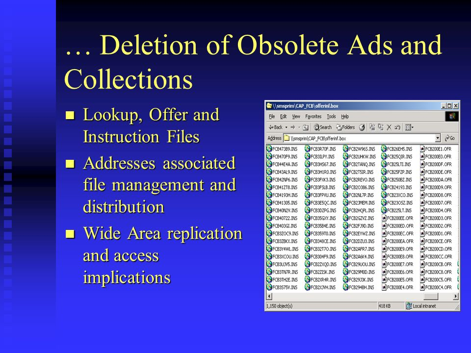 … Deletion of Obsolete Ads and Collections Lookup, Offer and Instruction Files Lookup, Offer and Instruction Files Addresses associated file management and distribution Addresses associated file management and distribution Wide Area replication and access implications Wide Area replication and access implications