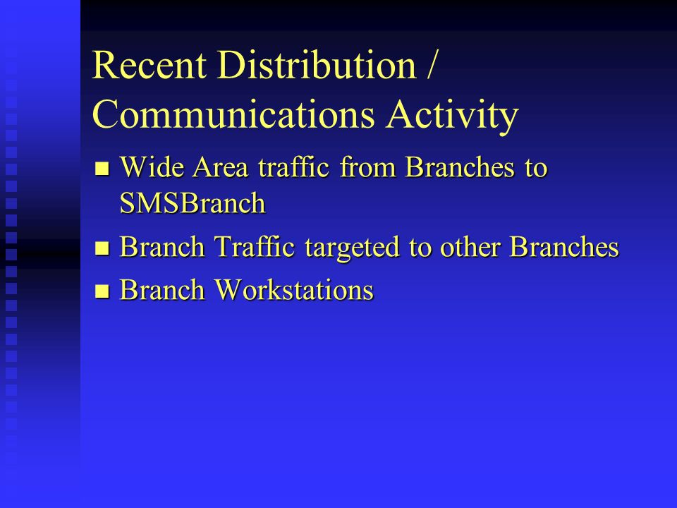 Recent Distribution / Communications Activity Wide Area traffic from Branches to SMSBranch Wide Area traffic from Branches to SMSBranch Branch Traffic targeted to other Branches Branch Traffic targeted to other Branches Branch Workstations Branch Workstations