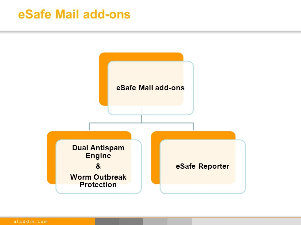 a l a d d i n. c o m eSafe Mail add-ons Dual Antispam Engine & Worm Outbreak Protection eSafe Reporter