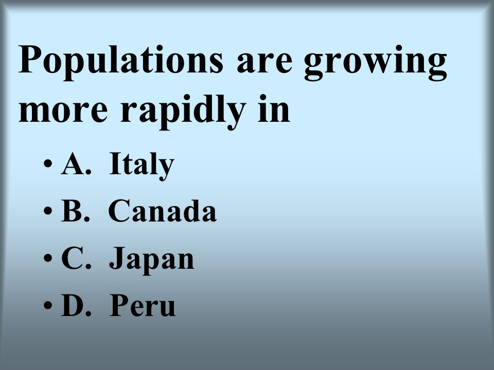 Populations are growing more rapidly in A. Italy B. Canada C. Japan D. Peru