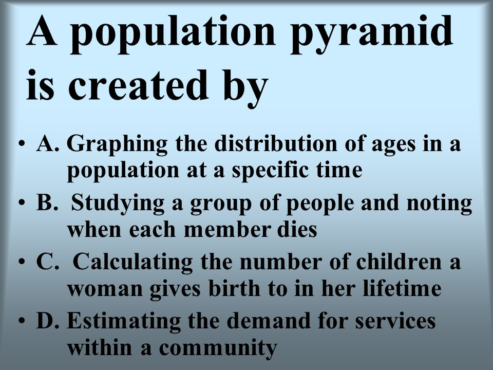 A population pyramid is created by A. Graphing the distribution of ages in a population at a specific time B. Studying a group of people and noting wh