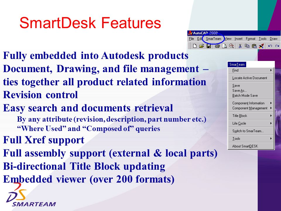 Standard Parts Parallel Documents/Items trees Data Management Tree (DMT) Over the internet Collaboration And much more … Commitment to the Autodesk Product Line: AutoCad 2000, 2000i, 2002 Mechanical Desktop 4, 5,6 Inventor 3,4 and 5 (TBA)