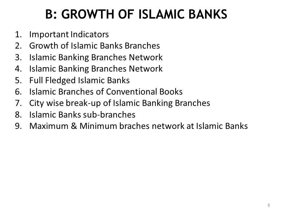 B: GROWTH OF ISLAMIC BANKS 1.Important Indicators 2.Growth of Islamic Banks Branches 3.Islamic Banking Branches Network 4.Islamic Banking Branches Net