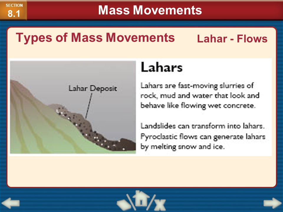 Types of Mass Movements Lahar - Flows SECTION 8.1 Mass Movements