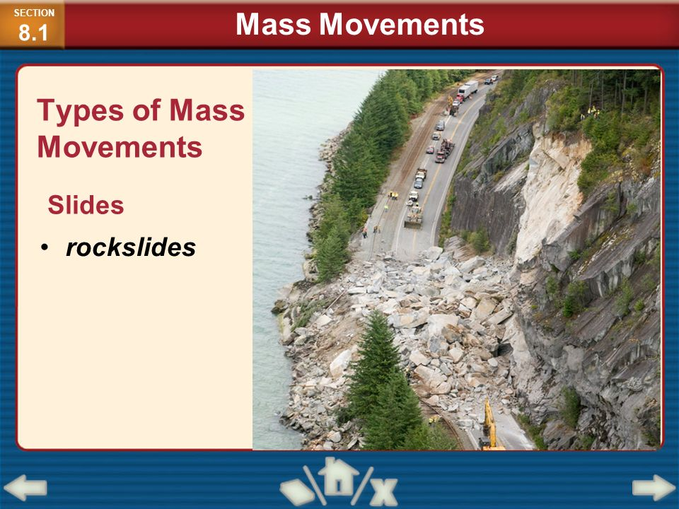 Types of Mass Movements Slides rockslides SECTION 8.1 Mass Movements