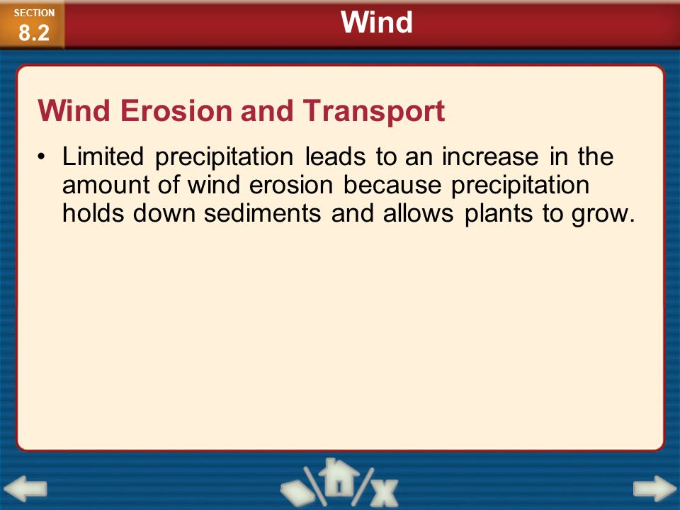 Wind Erosion and Transport Limited precipitation leads to an increase in the amount of wind erosion because precipitation holds down sediments and all
