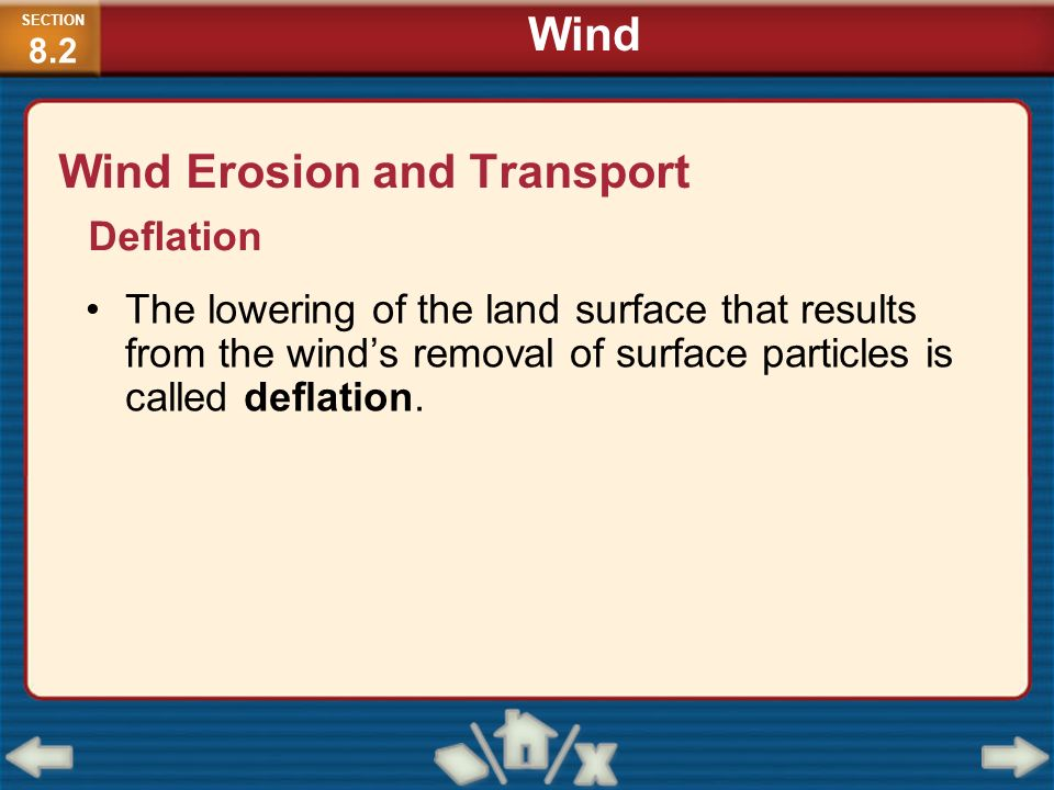Wind Erosion and Transport The lowering of the land surface that results from the winds removal of surface particles is called deflation. Deflation SE