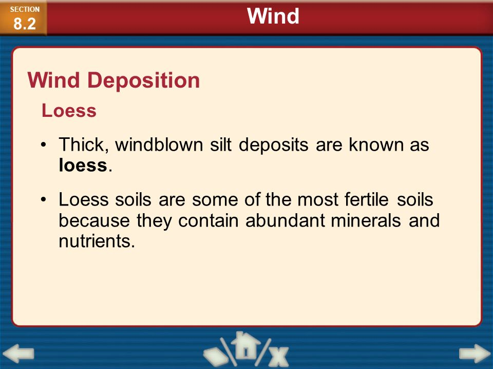 Wind Deposition Thick, windblown silt deposits are known as loess. Loess soils are some of the most fertile soils because they contain abundant minera