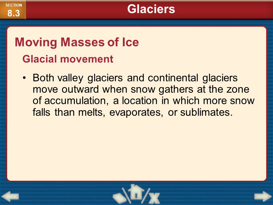 Moving Masses of Ice Glacial movement Both valley glaciers and continental glaciers move outward when snow gathers at the zone of accumulation, a loca