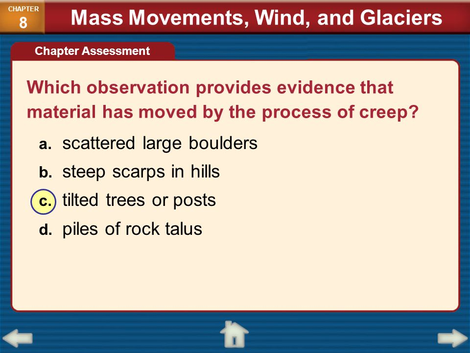 Which observation provides evidence that material has moved by the process of creep? a. scattered large boulders b. steep scarps in hills c. tilted tr