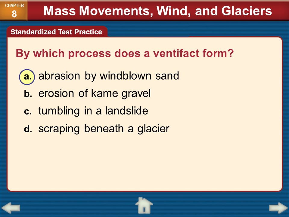 By which process does a ventifact form? a. abrasion by windblown sand b. erosion of kame gravel c. tumbling in a landslide d. scraping beneath a glaci