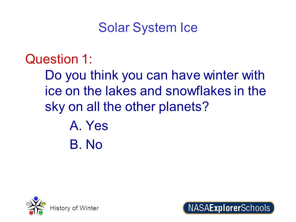 History of Winter Solar System Ice Question 1: Do you think you can have winter with ice on the lakes and snowflakes in the sky on all the other plane