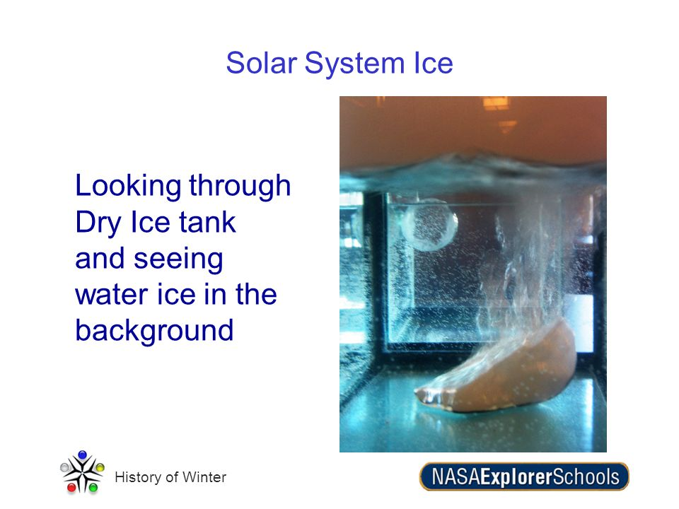 History of Winter Solar System Ice Looking through Dry Ice tank and seeing water ice in the background
