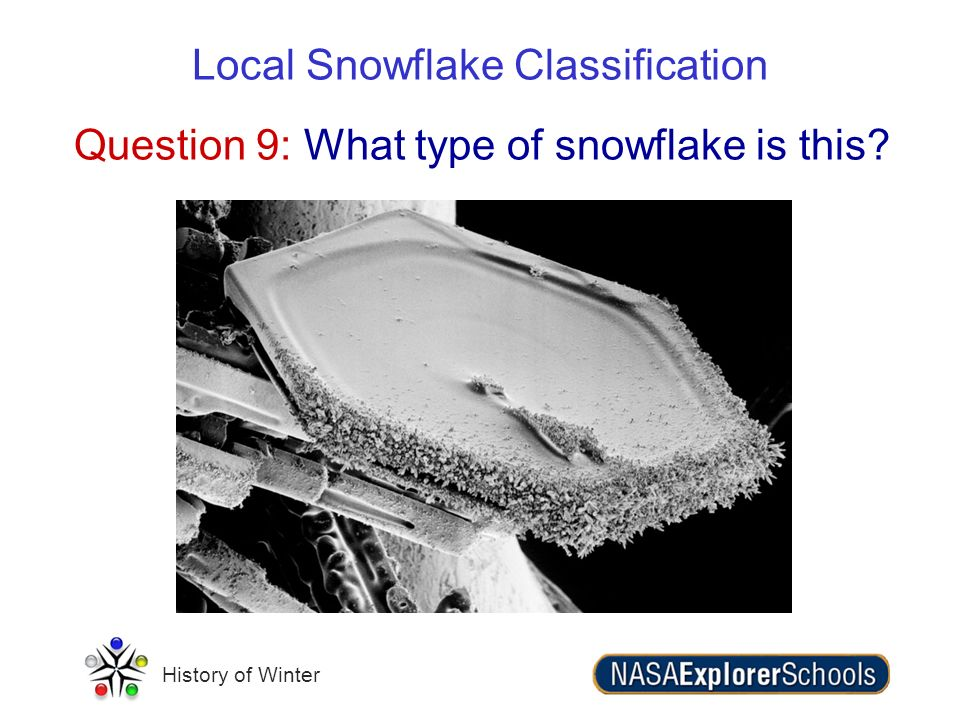 History of Winter Question 9: What type of snowflake is this? Local Snowflake Classification