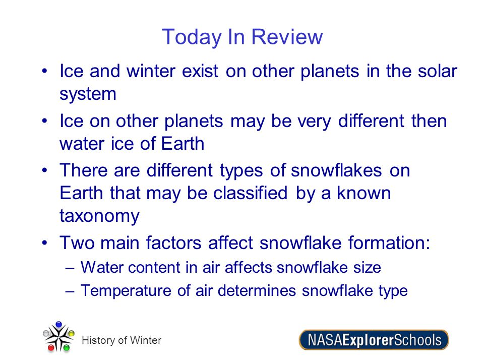 History of Winter Ice and winter exist on other planets in the solar system Ice on other planets may be very different then water ice of Earth There a