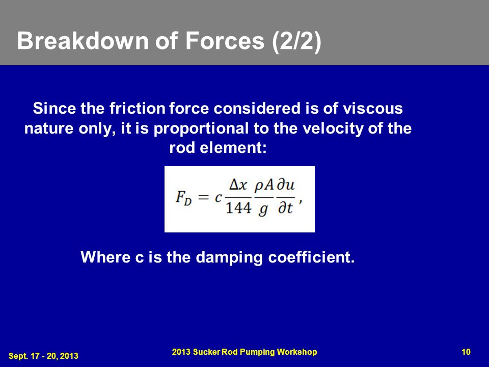 Breakdown of Forces (2/2) Since the friction force considered is of viscous nature only, it is proportional to the velocity of the rod element: Where