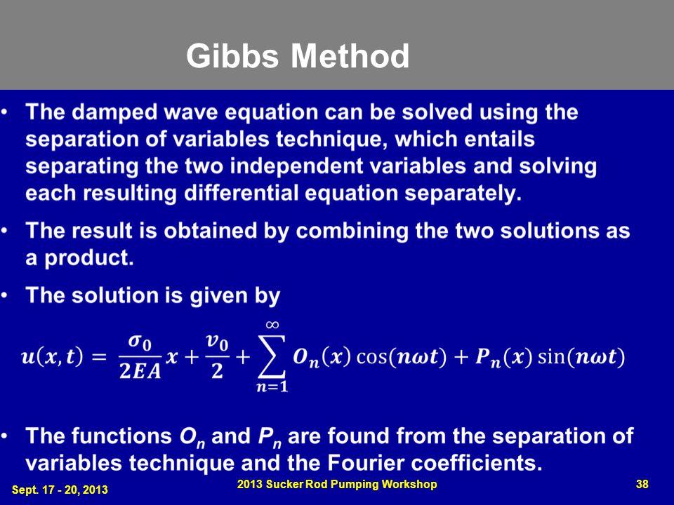 Gibbs Method Sept. 17 - 20, 2013 2013 Sucker Rod Pumping Workshop38
