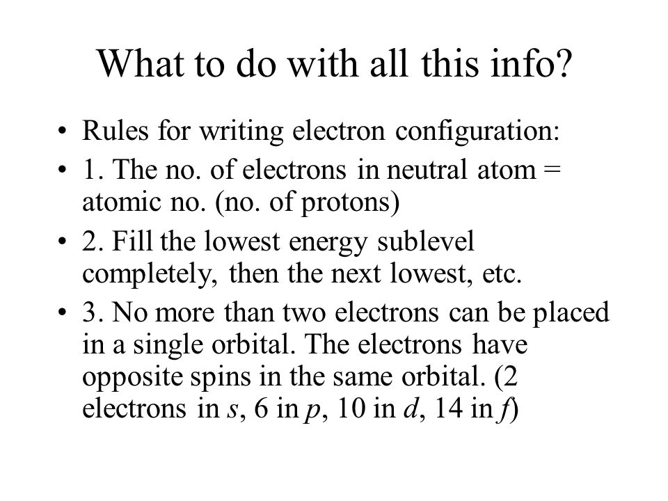 What to do with all this info? Rules for writing electron configuration: 1. The no. of electrons in neutral atom = atomic no. (no. of protons) 2. Fill