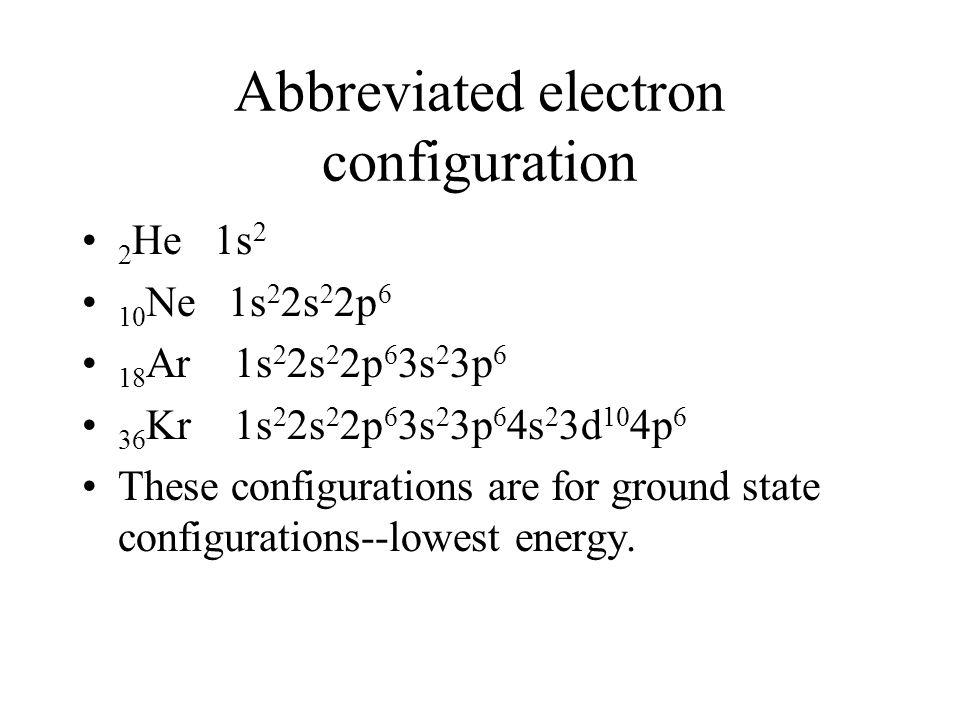 Abbreviated electron configuration 2 He 1s 2 10 Ne 1s 2 2s 2 2p 6 18 Ar 1s 2 2s 2 2p 6 3s 2 3p 6 36 Kr 1s 2 2s 2 2p 6 3s 2 3p 6 4s 2 3d 10 4p 6 These