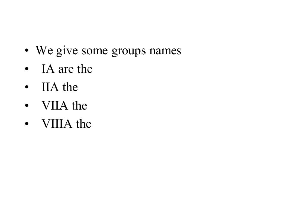We give some groups names IA are the IIA the VIIA the VIIIA the