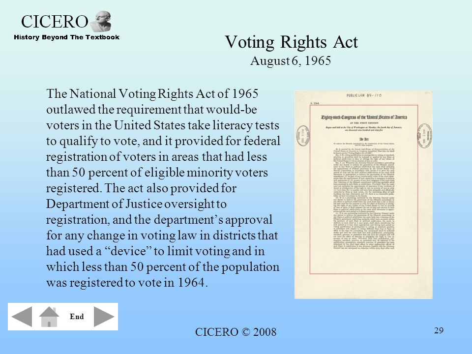 CICERO © 2008 29 Voting Rights Act August 6, 1965 The National Voting Rights Act of 1965 outlawed the requirement that would-be voters in the United S