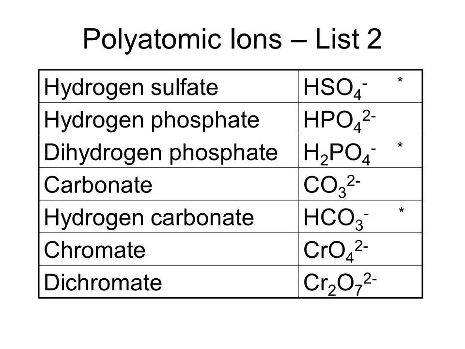 Polyatomic Ions – List 2 Hydrogen sulfateHSO 4 - * Hydrogen phosphateHPO 4 2- Dihydrogen phosphateH 2 PO 4 - * CarbonateCO 3 2- Hydrogen carbonateHCO