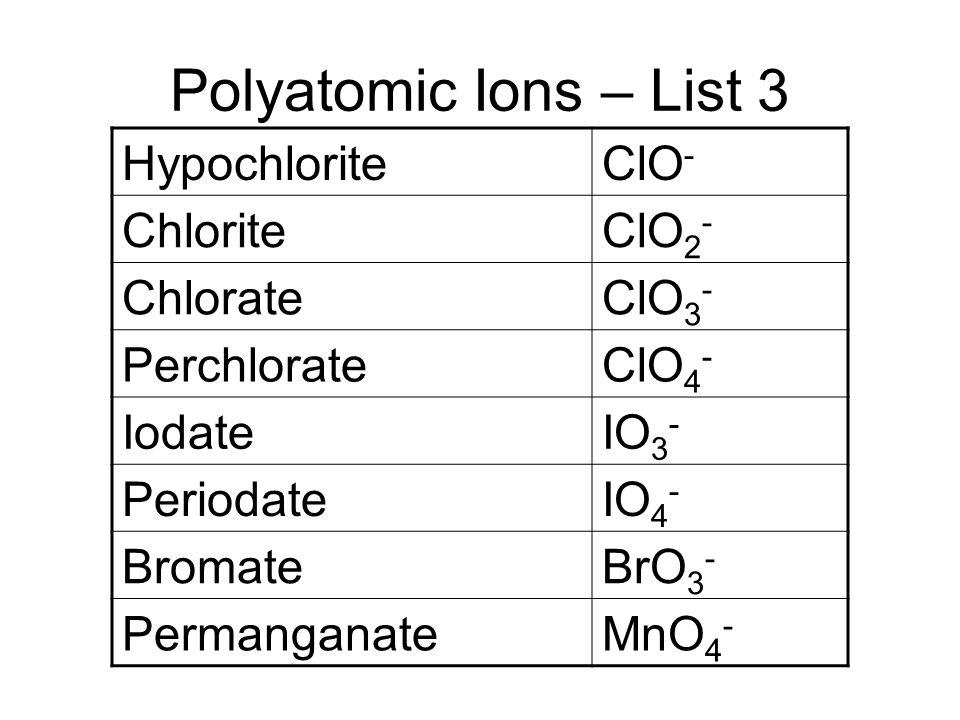 Polyatomic Ions – List 3 HypochloriteClO - ChloriteClO 2 - ChlorateClO 3 - PerchlorateClO 4 - IodateIO 3 - PeriodateIO 4 - BromateBrO 3 - Permanganate