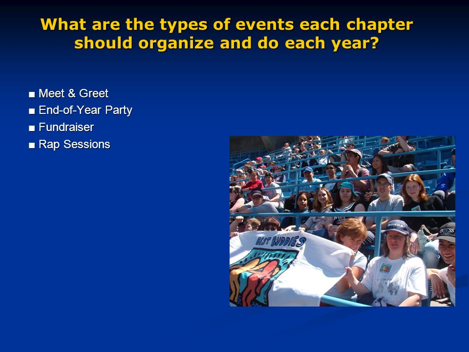 Meet & Greet Meet & Greet End-of-Year Party End-of-Year Party Fundraiser Fundraiser Rap Sessions Rap Sessions What are the types of events each chapter should organize and do each year?