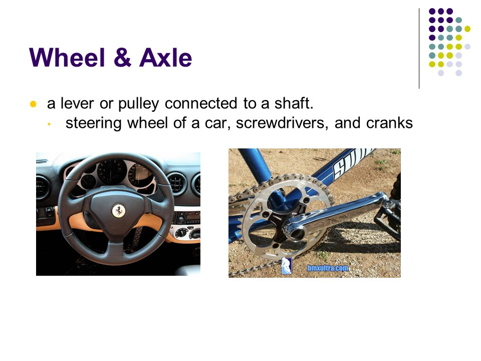 Wheel & Axle a lever or pulley connected to a shaft. steering wheel of a car, screwdrivers, and cranks