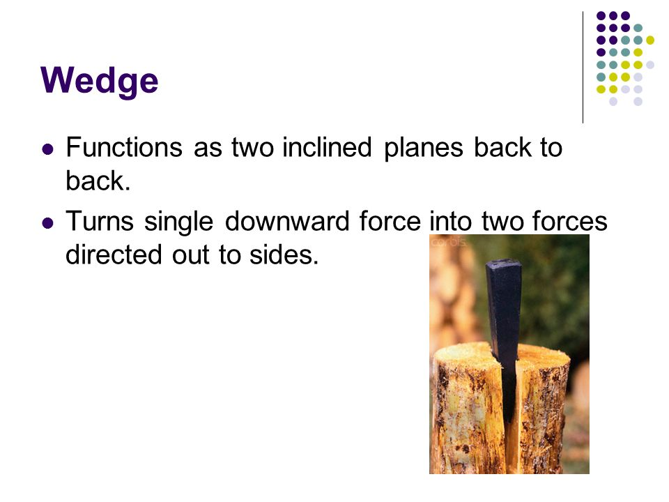 Wedge Functions as two inclined planes back to back. Turns single downward force into two forces directed out to sides.