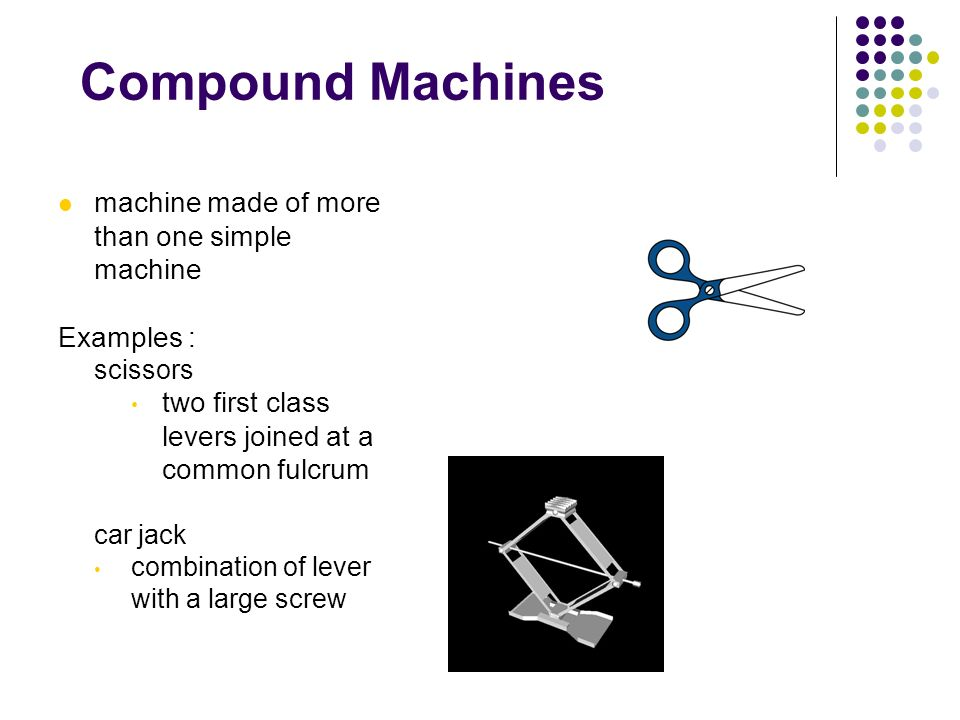 Compound Machines machine made of more than one simple machine Examples : scissors two first class levers joined at a common fulcrum car jack combinat