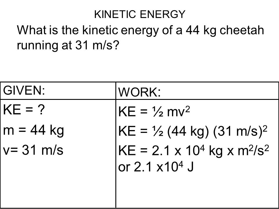 KINETIC ENERGY What is the kinetic energy of a 44 kg cheetah running at 31 m/s? GIVEN: KE = ? m = 44 kg v= 31 m/s WORK : KE = ½ mv 2 KE = ½ (44 kg) (3