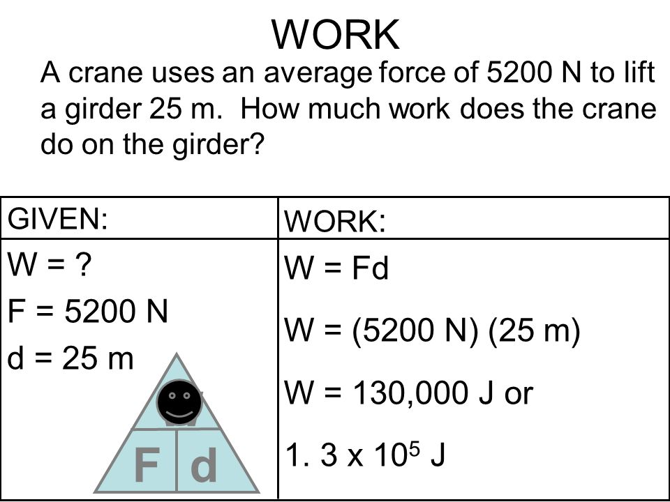 WORK A crane uses an average force of 5200 N to lift a girder 25 m. How much work does the crane do on the girder? GIVEN: W = ? F = 5200 N d = 25 m WO