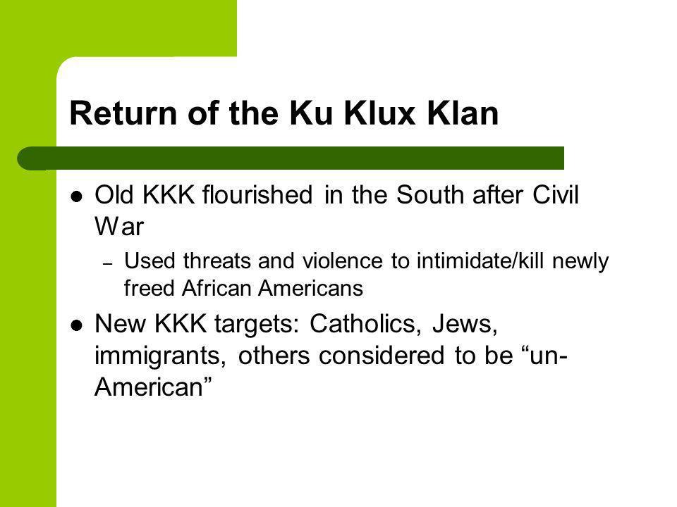 Return of the KKK (cont) William J.