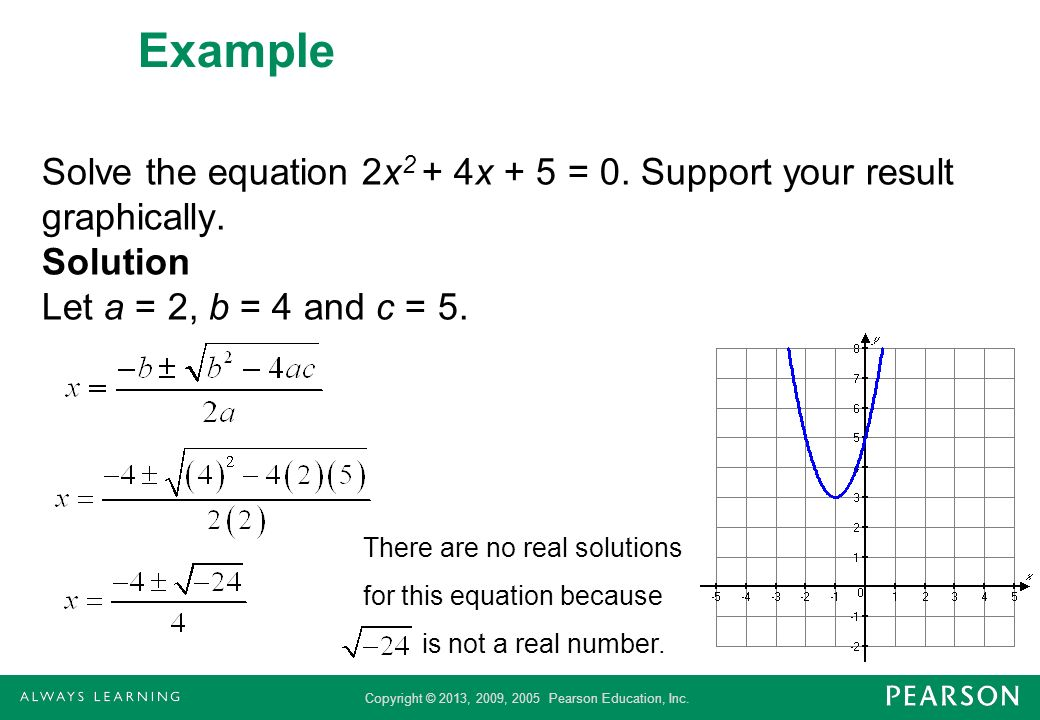 Copyright © 2013, 2009, 2005 Pearson Education, Inc. Example Solve the equation 2x 2 + 4x + 5 = 0. Support your result graphically. Solution Let a = 2