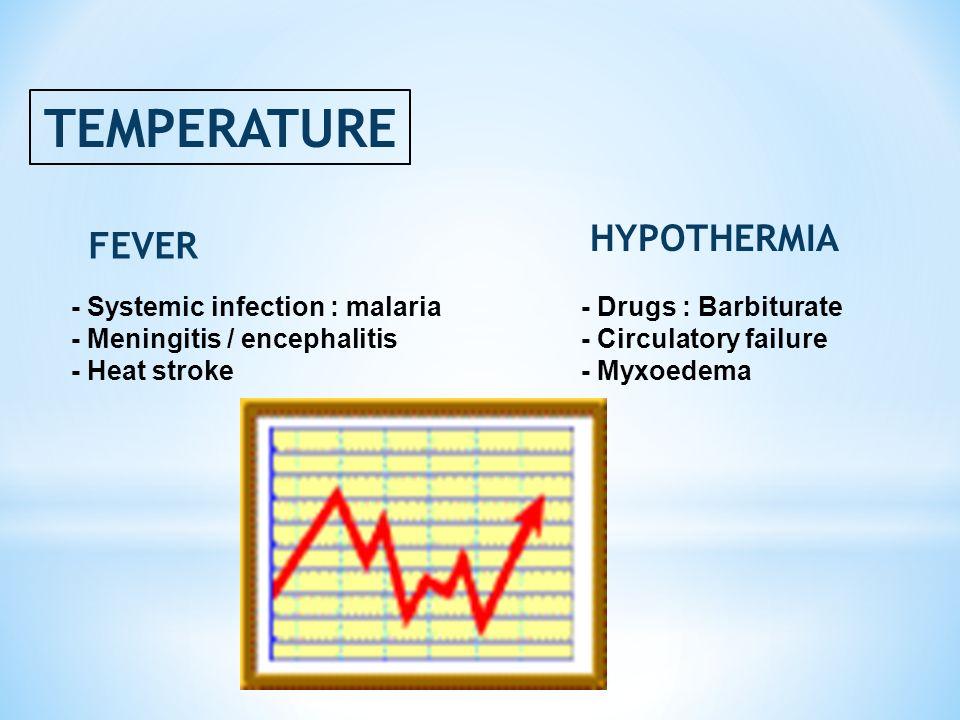 TEMPERATURE FEVER HYPOTHERMIA - Drugs : Barbiturate - Circulatory failure - Myxoedema - Systemic infection : malaria - Meningitis / encephalitis - Hea