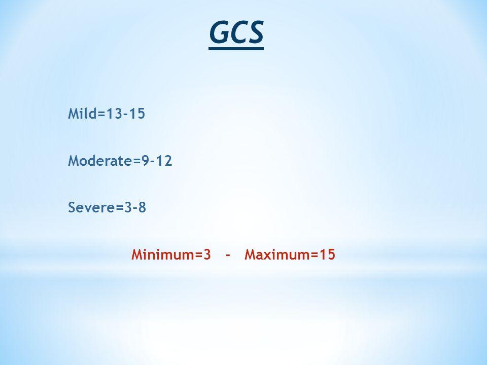 GCS Mild=13-15 Moderate=9-12 Severe=3-8 Minimum=3 - Maximum=15