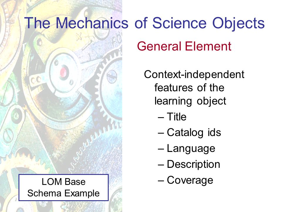 Context-independent features of the learning object –Title –Catalog ids –Language –Description –Coverage The Mechanics of Science Objects General Element LOM Base Schema Example
