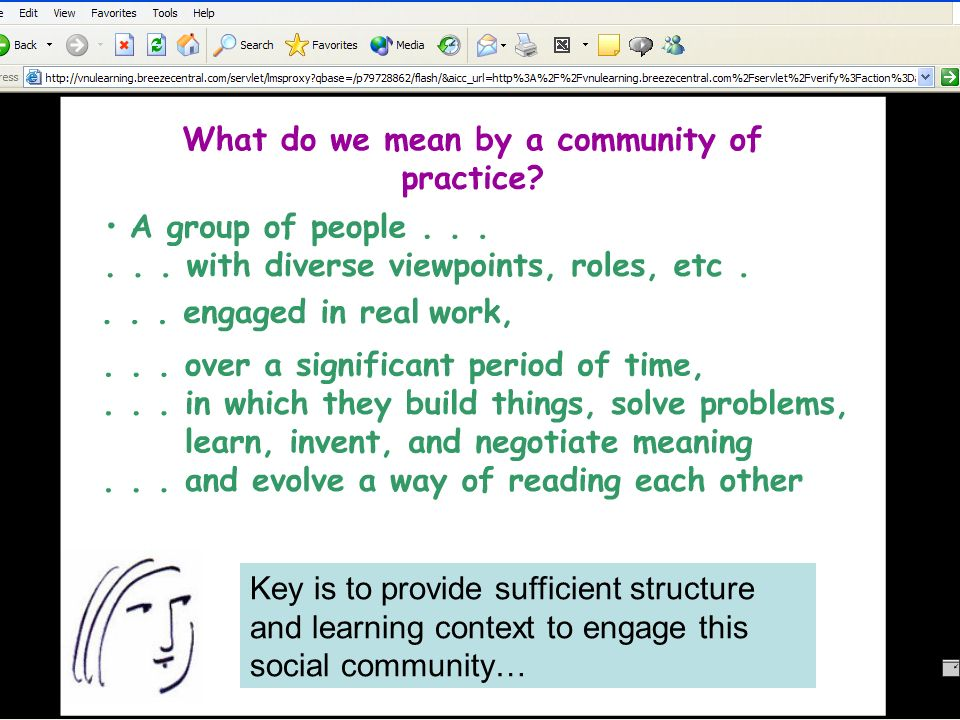 Key is to provide sufficient structure and learning context to engage this social community…