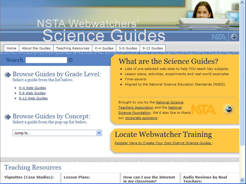 Webwatcher Science Guides Web Guide Topic Area Several Themes for each web guide topic area List of Keywords for each theme Clicking Keyword provides list of URL Resources aligned to keyword