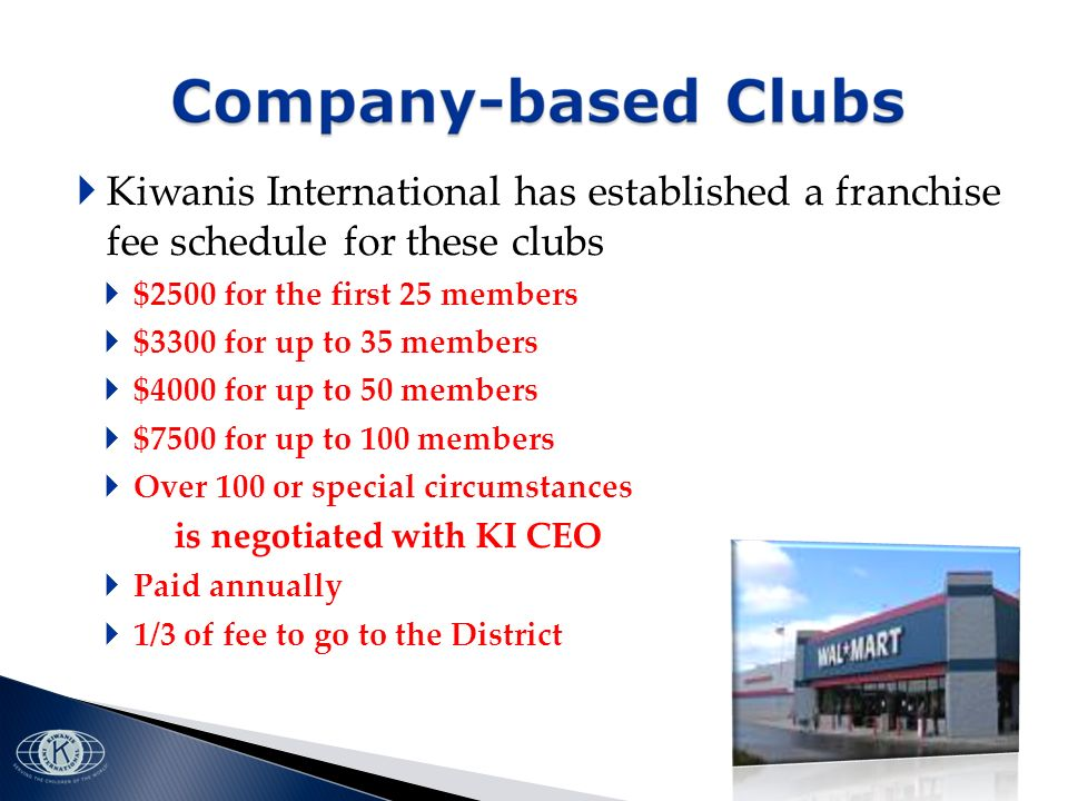 Kiwanis International has established a franchise fee schedule for these clubs $2500 for the first 25 members $3300 for up to 35 members $4000 for up to 50 members $7500 for up to 100 members Over 100 or special circumstances is negotiated with KI CEO Paid annually 1/3 of fee to go to the District