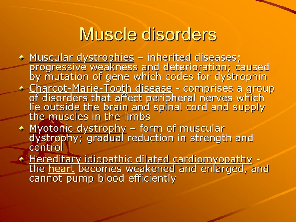 Muscle disorders Muscular dystrophies – inherited diseases; progressive weakness and deterioration; caused by mutation of gene which codes for dystrop