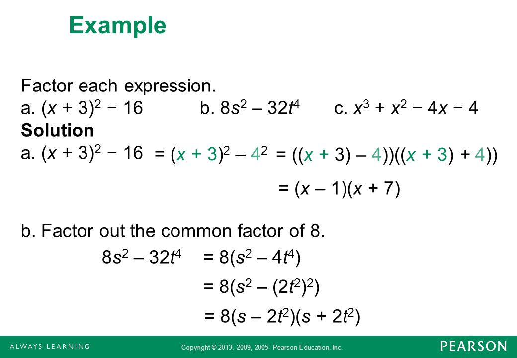 Copyright © 2013, 2009, 2005 Pearson Education, Inc. Example Factor each expression. a. (x + 3) 2 16b. 8s 2 – 32t 4 c. x 3 + x 2 4x 4 Solution a. (x +