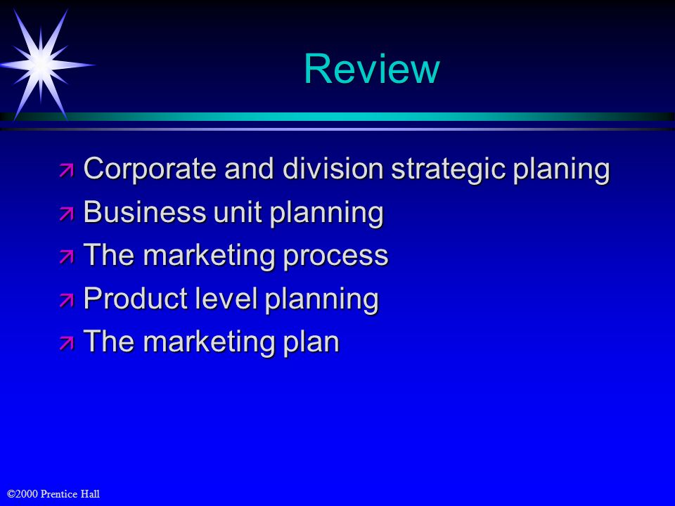 ©2000 Prentice Hall Review ä Corporate and division strategic planing ä Business unit planning ä The marketing process ä Product level planning ä The
