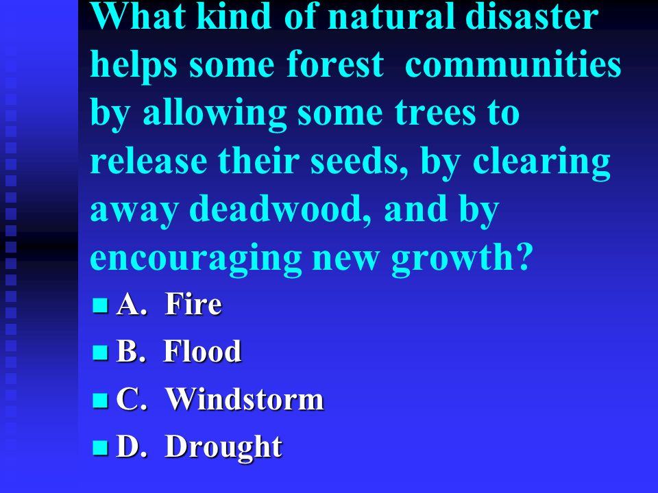 What kind of natural disaster helps some forest communities by allowing some trees to release their seeds, by clearing away deadwood, and by encouragi