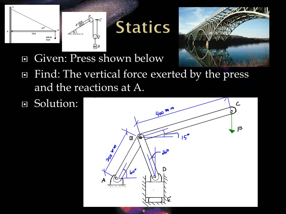 Given: Press shown below Find: The vertical force exerted by the press and the reactions at A. Solution: