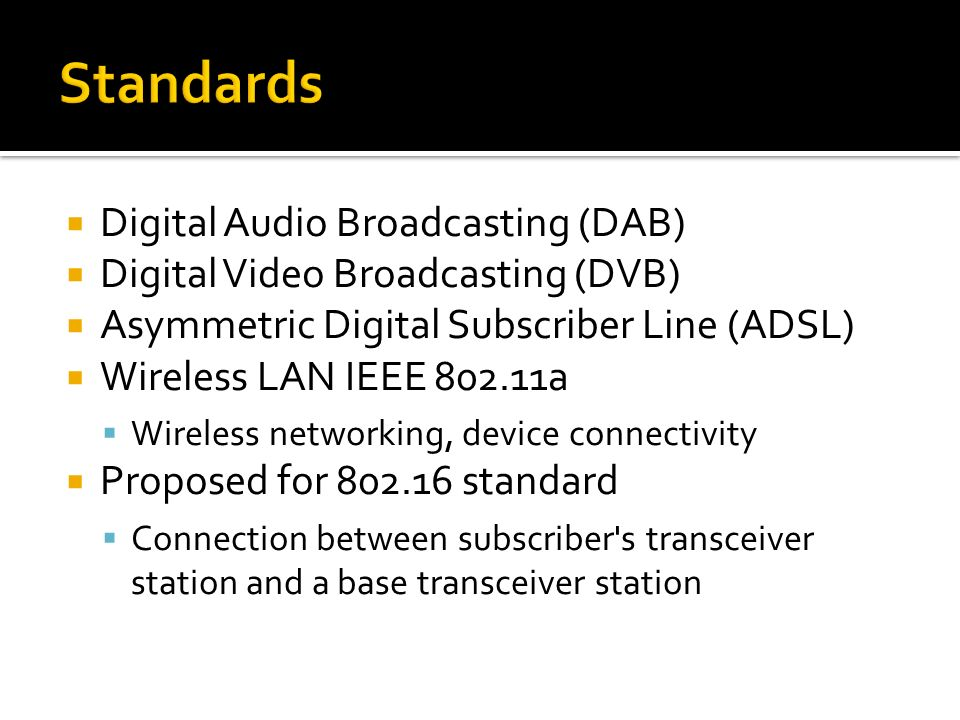 Digital Audio Broadcasting (DAB) Digital Video Broadcasting (DVB) Asymmetric Digital Subscriber Line (ADSL) Wireless LAN IEEE 802.11a Wireless network