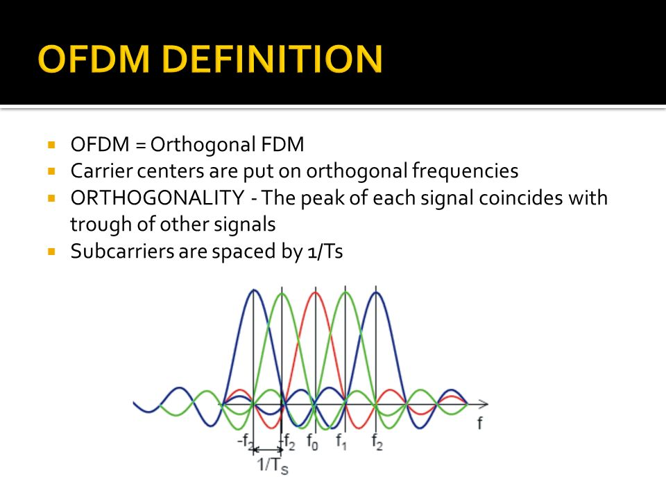 OFDM = Orthogonal FDM Carrier centers are put on orthogonal frequencies ORTHOGONALITY - The peak of each signal coincides with trough of other signals