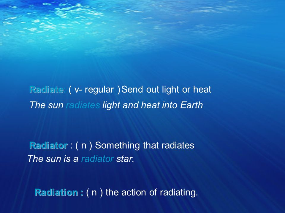 Radiate Radiate: ( v- regular )Send out light or heat The sun radiates light and heat into Earth Radiator Radiator : ( n )Something that radiates The