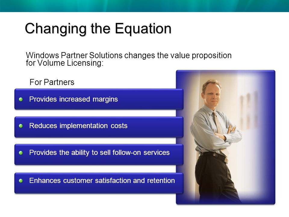 Changing the Equation Provides increased margins Reduces implementation costs Provides the ability to sell follow-on services Enhances customer satisfaction and retention Windows Partner Solutions changes the value proposition for Volume Licensing: For Partners